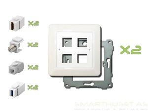 Smarthuset AS - Kombiplate med 4 uttak - kit