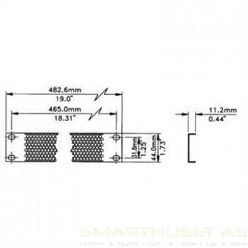 1U rackplate technical drawing